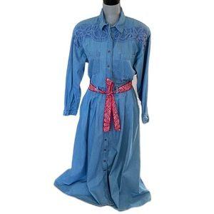 1990's Vintage Belted Denim Shirt Dress